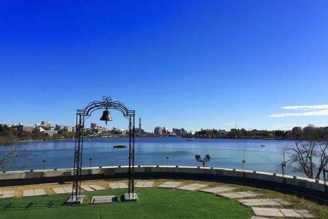 水戸市内を望む千波湖
