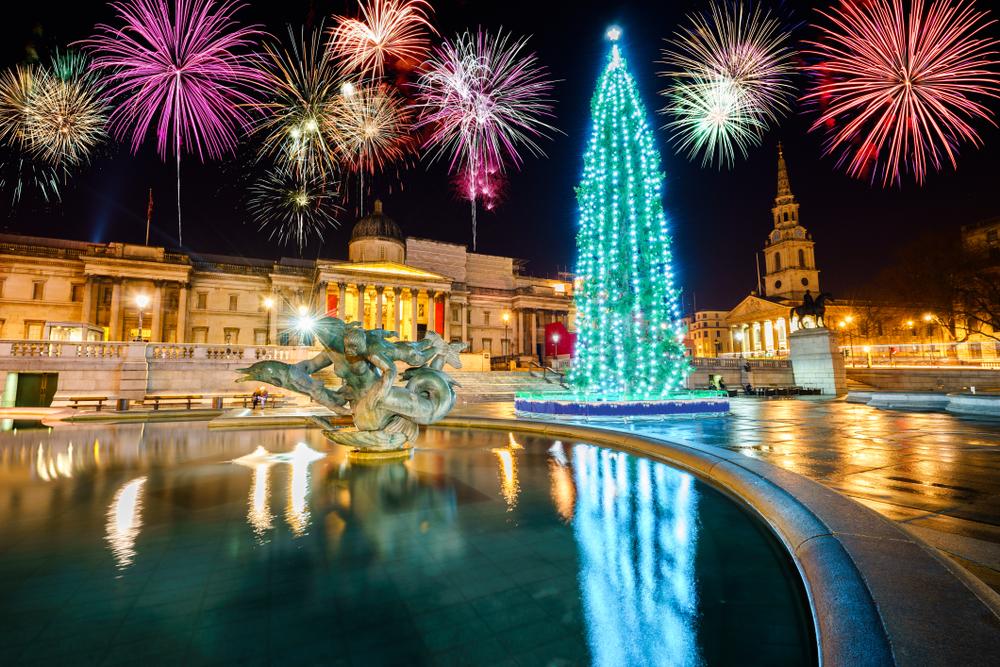トラファルガー広場のクリスマスツリー